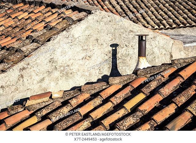 Old pantiled rooftops in the village of Proastio in the Outer Mani, Peloponnese, Greece