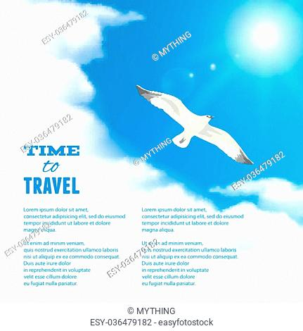 Cloudscape with Seagull. Vector illustration, eps10, editable