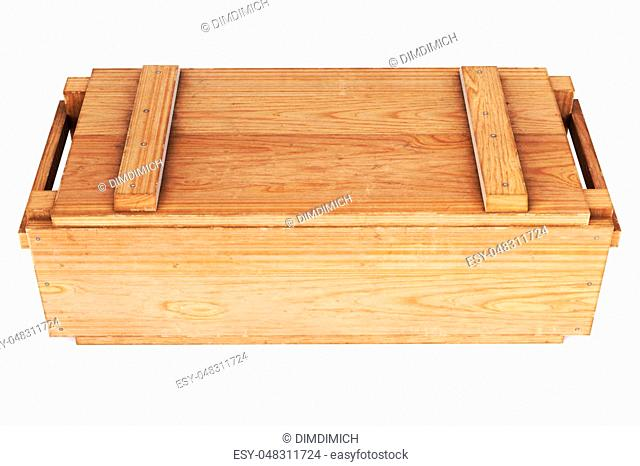 wooden box isolated on white background. 3D illustration