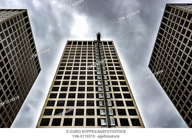 Rotterdam, Netherlands. Three 1070'2 build towers on Marconiplein form a huge landmarc, seen from most parts of the city