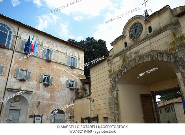 Town Hall Palace and Arch with Ancient Clock, Anguillara Sabazia, Lazio, Italy