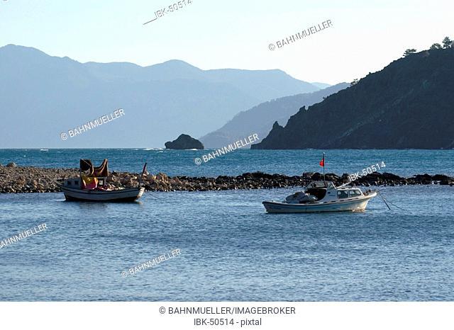 Phaselis near Kemer south of Antalya Turkey ancient city fishing boats in the bay