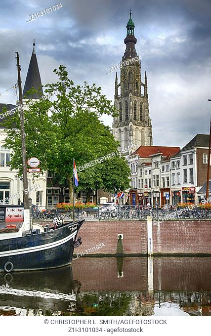 The Grote Kerk (Church of our Lady) overshadows the city of Breda in the Netherlands