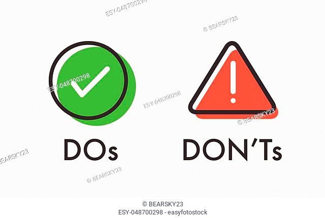 Do and Don't or Good and Bad Icons w Positive and Negative Symbols