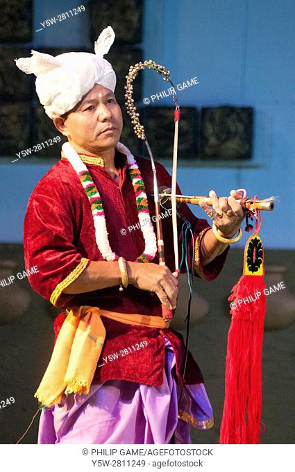 Manipur tribal musician performs at the Sangai Festival, Imphal, Manipur, India