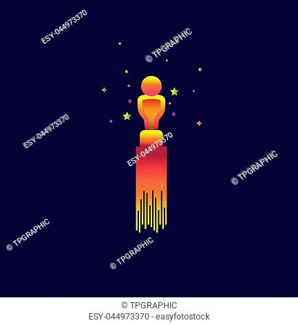 Academy award icon Color gradation. sign symbol for web, modern design vector on blue background. logo