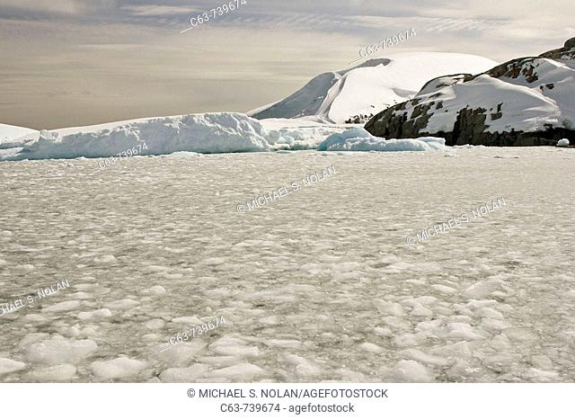 Brash ice surrounds multi-year icebergs on Petermann Island on the western side of the Antarctic Peninsula