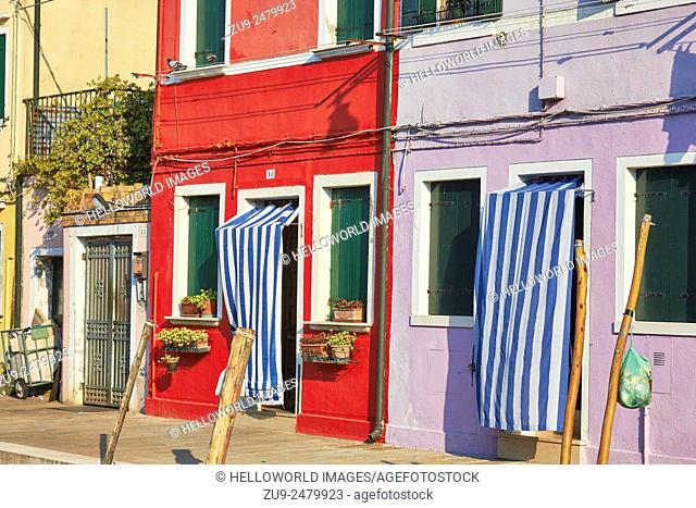 Canalside scene, Burano, Venetian Lagoon, Veneto, Italy, Europe