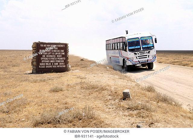 Sign at entrance of Serengeti National Park, Tanzania, Africa