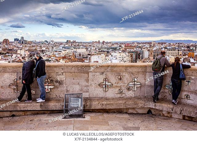 Cathedral.Views from the Miquelete bell-tower. Valencia. Spain
