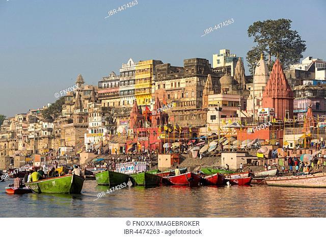 Ghats and boats on Ganges, Varanasi, Uttar Pradesh, India