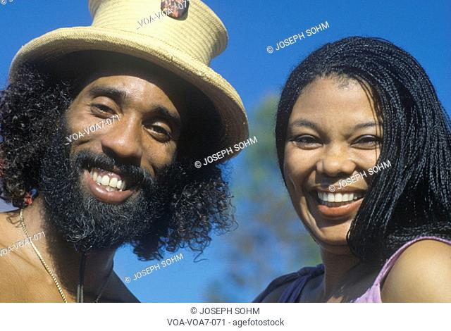 A smiling African-American couple