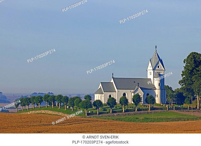 Baldringe Kyrka, church in romanesque style, Skane, Sweden