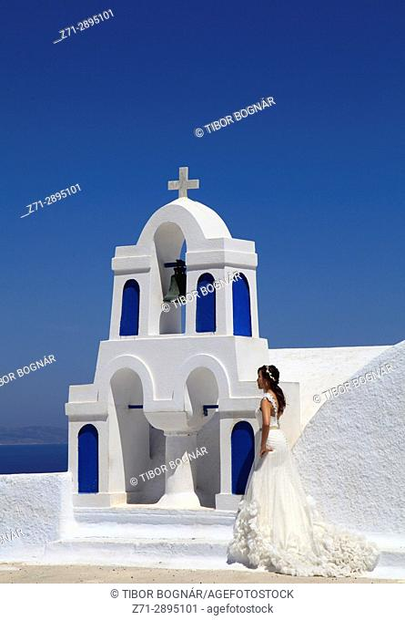 Greece, Cyclades, Santorini, Oia, church, bell tower, wedding photography, bride,