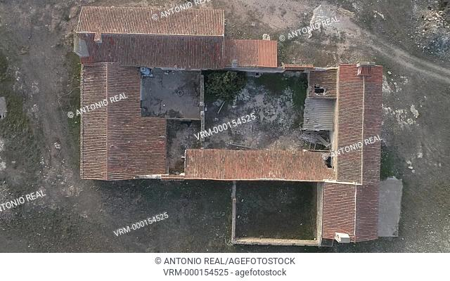 Aerial view. Traditional peasant house. Almansa. Albacete province