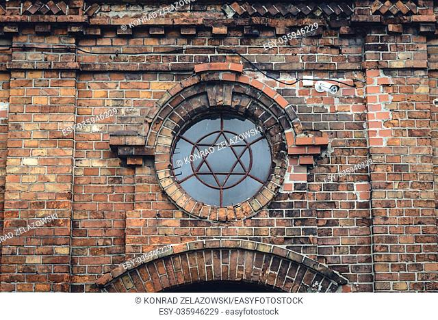 Ruined building of former private synagogue of tzaddik Yitzchak Meir Alter in Gora Kalwaria town, Masovian Province in Poland