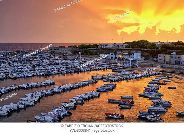 The harbour of Otranto at sunrise, Otranto, Italy