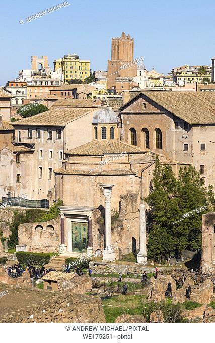 Ancient Rome city skyline with Santi Cosma e Damiano church at the Roman Forum. Rome. Lazio. Italy