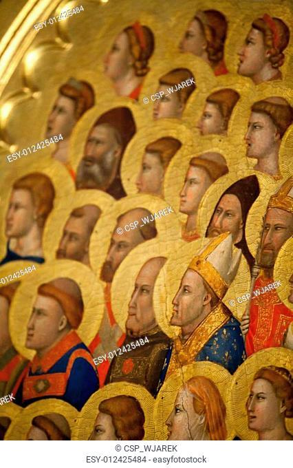 Florence - Santa Croce: the Baroncelli Chapel. Baroncelli Polyptych: Coronation of the Virgin