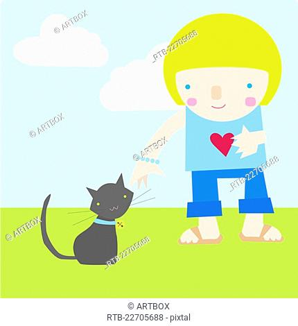 Girl standing besides a cat