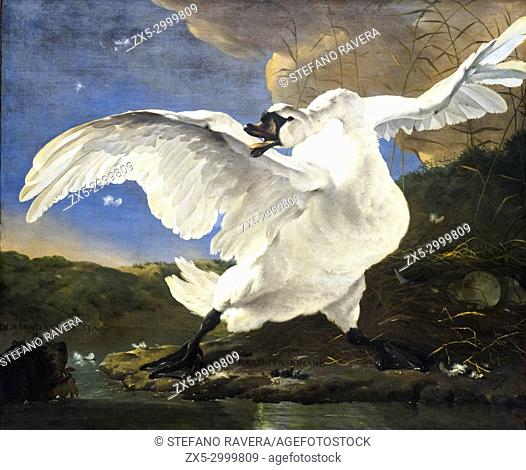 The Threatened Swan. Jan Asselijin (1610-1652). oil on canvas