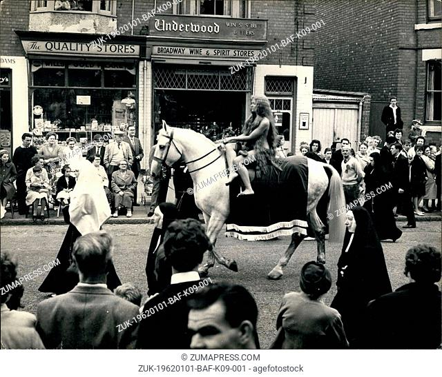 Jan. 01, 1962 - Lady Godiva Rides Again Through The Streets of Coventry : Transparent nylon brief's and a net bra worn under her long tresses were all that...