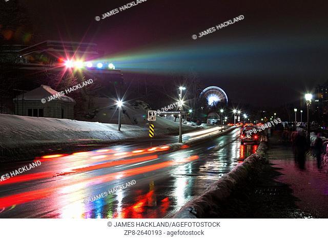The Niagara Parkway at night. Niagara Falls, District Municipality of Niagara, Ontario, Canada
