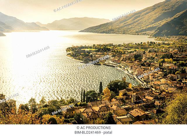 Scenic view of waterfront, Gravedona, Lake Como, Italy