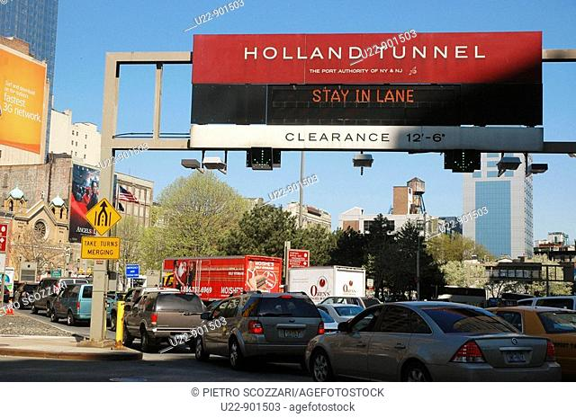 New York City (USA): the Holland Tunnel's entrance in TriBeCa