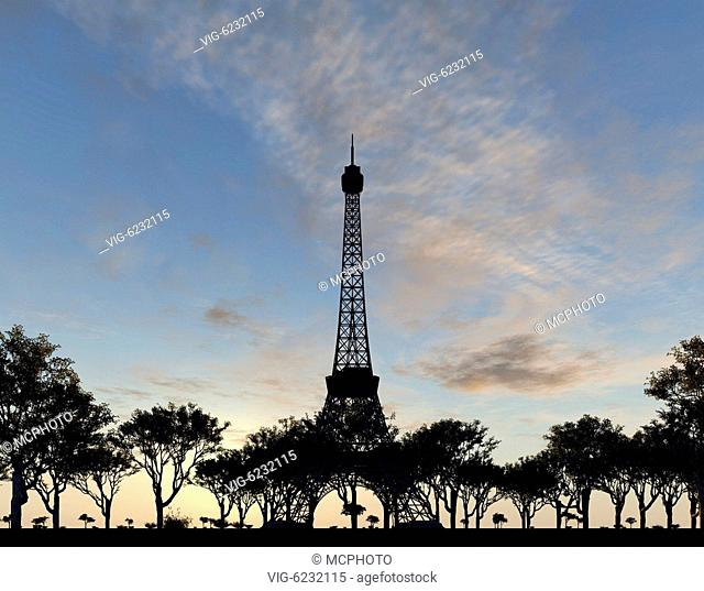 An illustration of the Eiffel tower in Paris - 01/01/2018