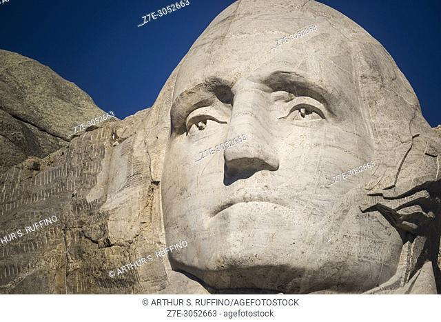 Close-up of the granite sculpted face of President George Washington. Mount Rushmore National Memorial, Black Hills, Keystone, South Dakota, U. S. A