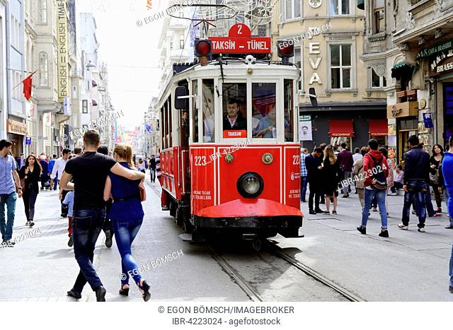 Historic tramway Nostaljik Tramvay going through Istiklal Caddesi shopping street, Beyoglu, Istanbul, European side, Istanbul Province, Turkey