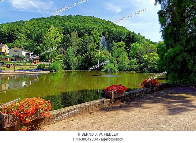 Swan pond, binder's brook, Markwardanlage, town park, water Fontaine, Annweiler in the Trifels Germany