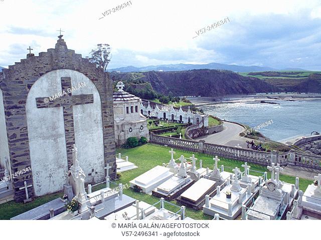 Graveyard and seascape. Luarca, Asturias, Spain
