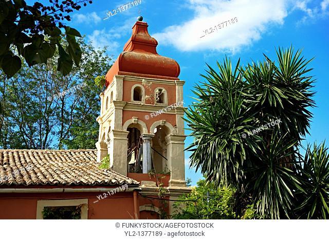 Greek Othodox church in the garden of the Palaia Anaktora  aa ta  Corfu Greek Ionian Island