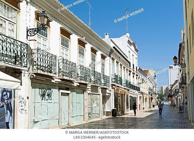 Pedestrian street with closed shops, Center of Faro, Algarve, Portugal, Europe