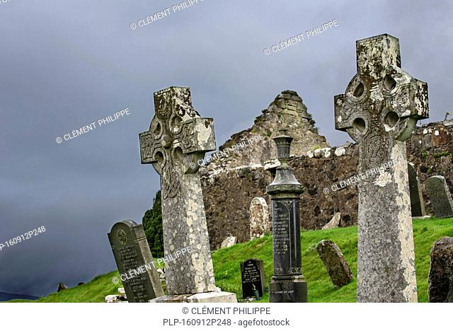 Celtic crosses in the graveyard of Cill Chriosd / Kilchrist Church, a ruined former parish church of Strathaird on the Isle of Skye, Highlands, Scotland, UK