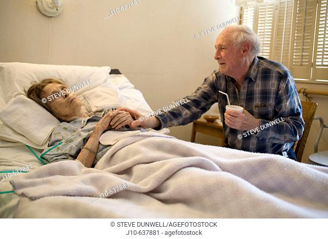 Woman age 89 dying, Hospice care, with friend. Poughkeepsie, NY. USA