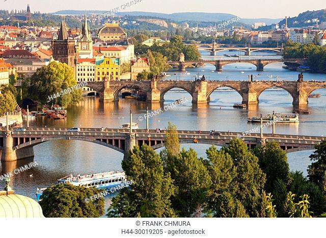 Czech Republic, Prague, Bridges over Vltava River and Boat Traffic