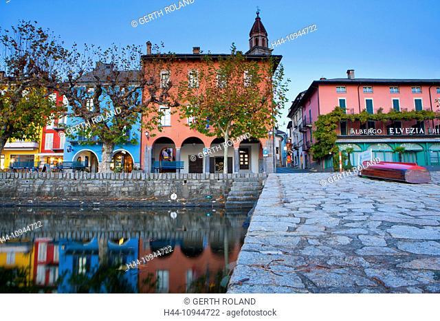 Ascona, Switzerland, Europe, canton, Ticino, Lago Maggiore, houses, homes, dusk, evening, reflection, bank promenade