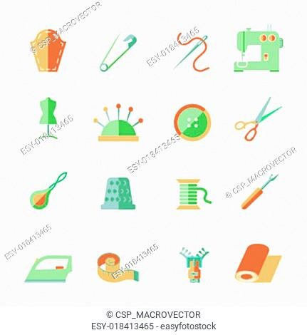 Sewing Equipment Icons Set