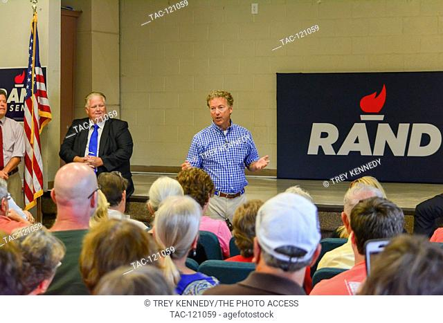 Republican Sen. Rand Paul of Kentucky addresses attendees at a town hall event in Louisville on August 22nd, 2016. The event took place at the Fern Creek...
