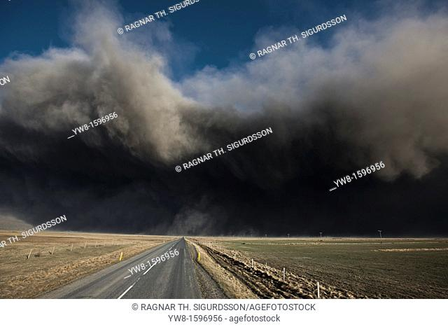 Highway One or Ring Road with Volcanic Ash Cloud from Eyjafjallajokull Volcano Eruption, Iceland  2010