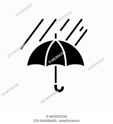 Weather protection measures black icon concept. Weather protection measures flat vector website sign, symbol, illustration