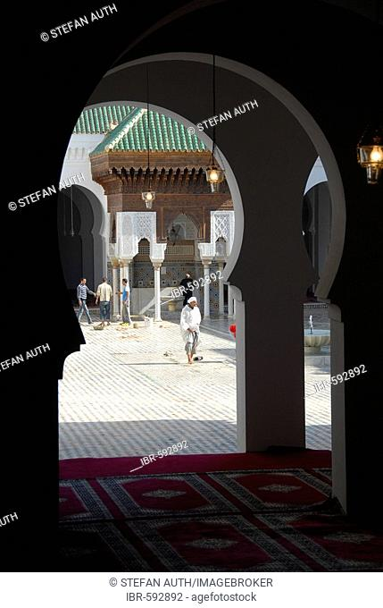 View through a gate into Kairaouine Mosque Fes El Bali Morocco