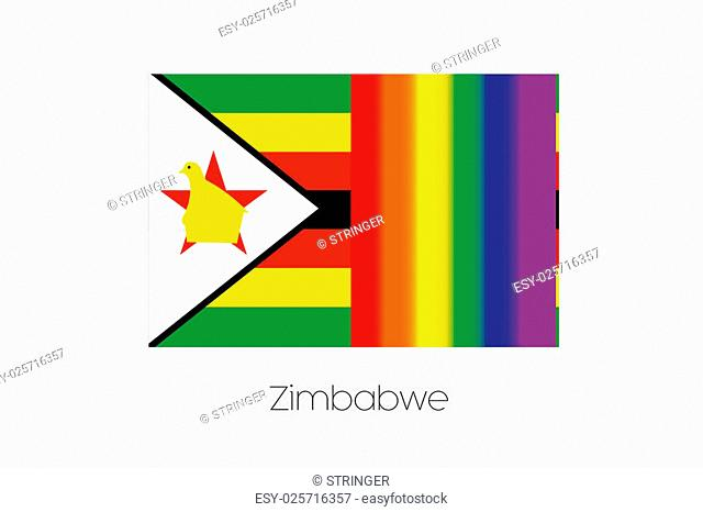 An LGBT Flag Illustration with the flag of Zimbabwe