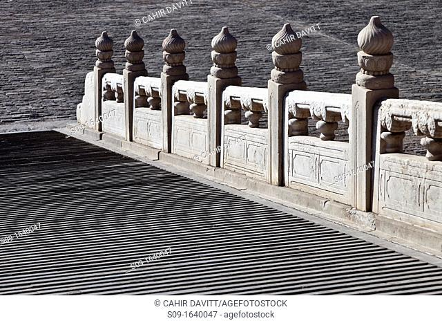 Ornate stone balustrade and ramp detail of the Gate of Supreme Harmony in the Forbidden City, Beijing, China