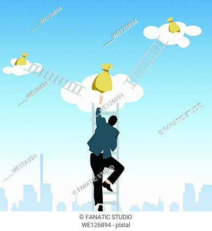Man climbing on step ladder to get money bags from clouds