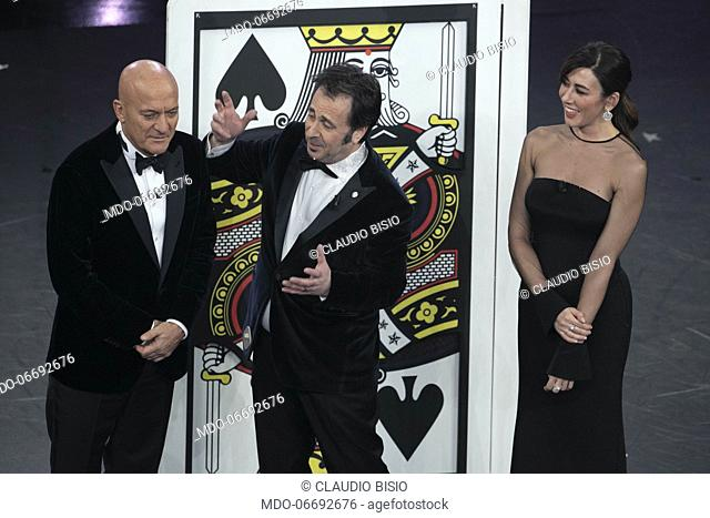 Italian hosts and comedians Claudio Bisio and Virginia Raffaele and Italian magician Mago Forest (Manuel Foresta) during the fifth and last evening of the 69th...