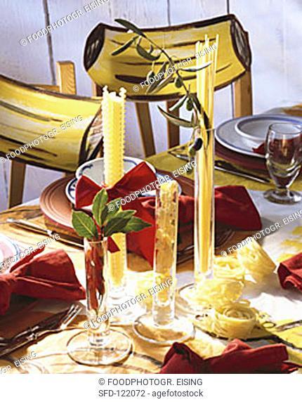 Noodle Bouquets as Table Decorations